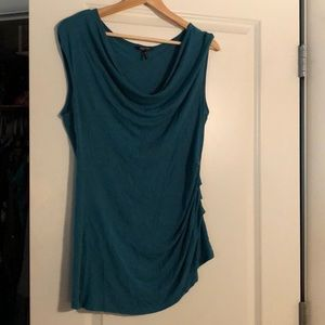 Blue shirt with ruched side